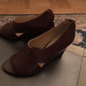 Franco sarto brown zip sandals wedge 8.5